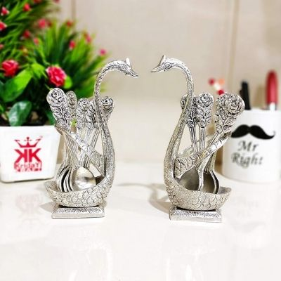 Kridaykraft Metal Swan (Duck) Silver Spoon Stand for Dining Table